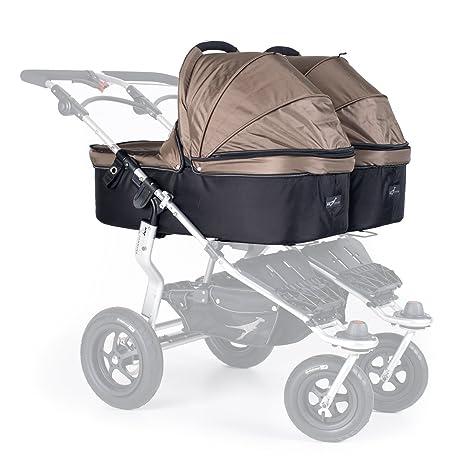 TFK Twinner Twist - Carrito de bebé doble convertible con adaptador, color marrón