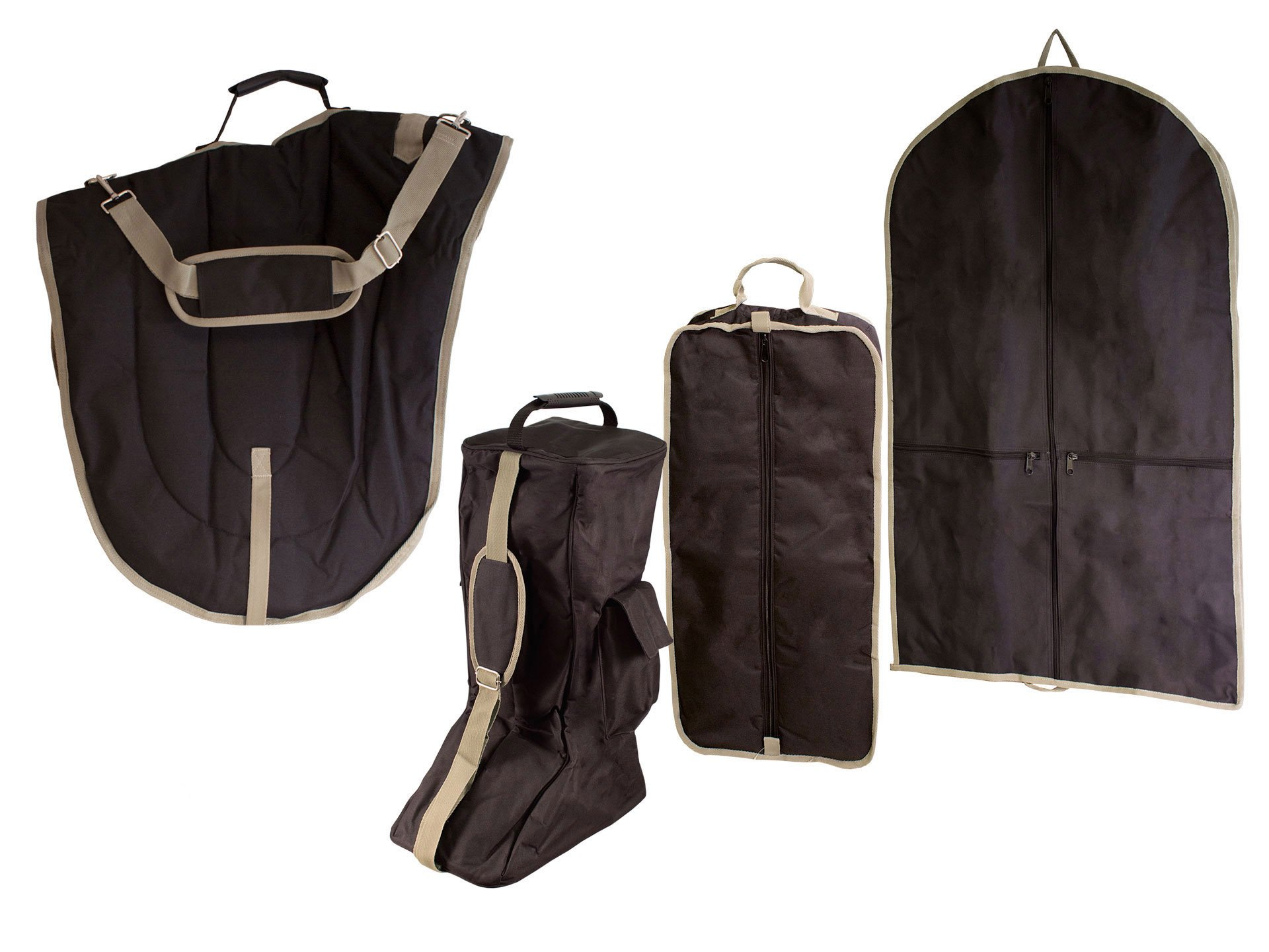 Derby Originals English Dressage Saddle with Bridle and Boot Garment Carry Bags (Set of 4), Black by Derby Originals (Image #1)