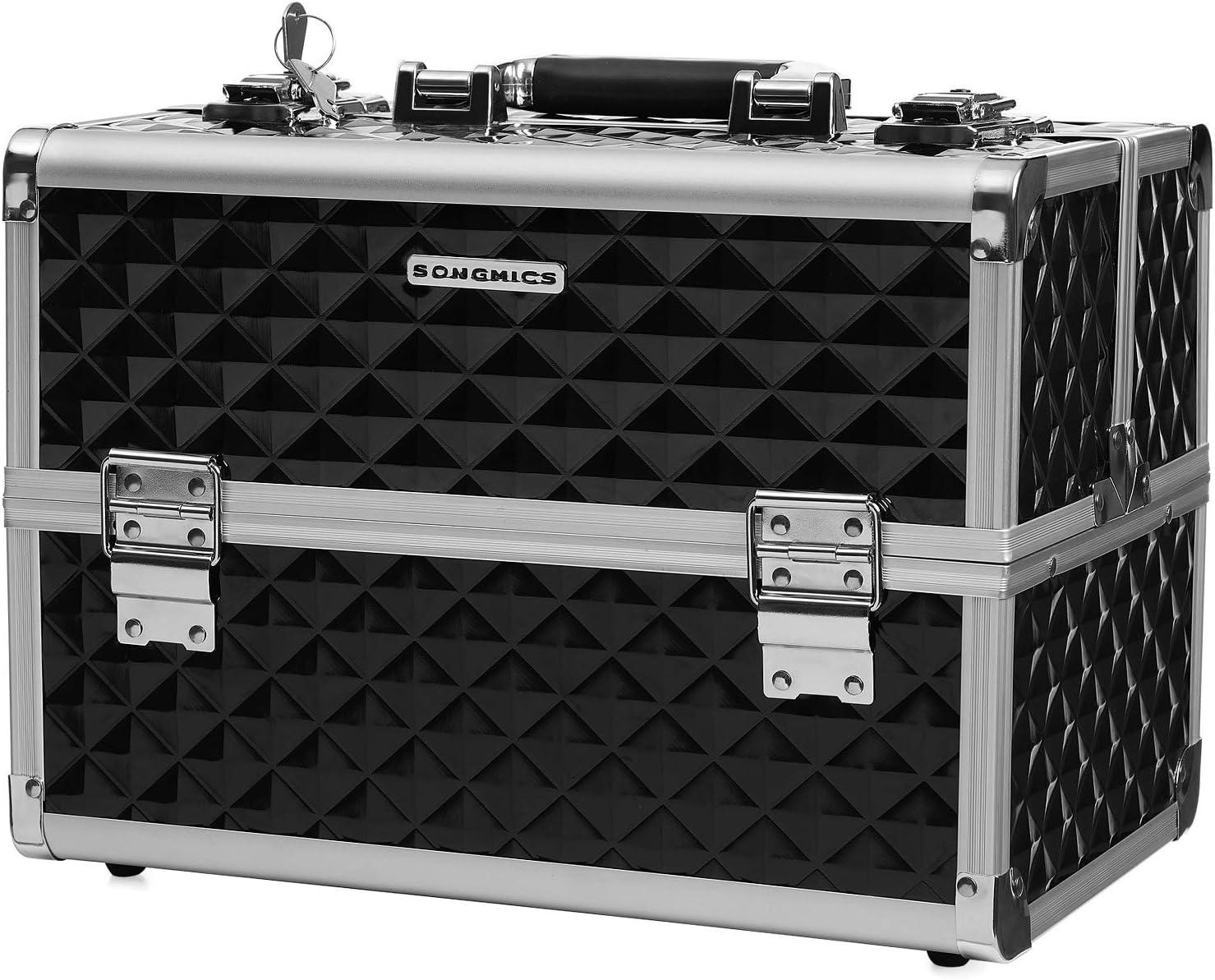 "Songmics 13.5"" Makeup Train Case Professional Cosmetic Box"
