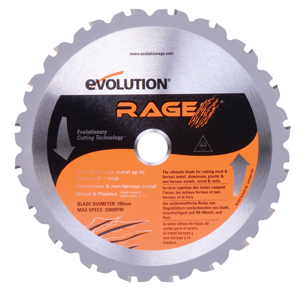 Evolution Power Tools RAGEBLADE 7-1/4-Inch Multipurpose Cutting Blade for Steel, Aluminum, Wood and Plastics by Evolution Power Tools