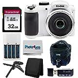 Kodak PIXPRO AZ252 Astro Zoom 16MP Digital Camera (White) + Point & Shoot Camera Case + Transcend 32GB SD Memory Card…