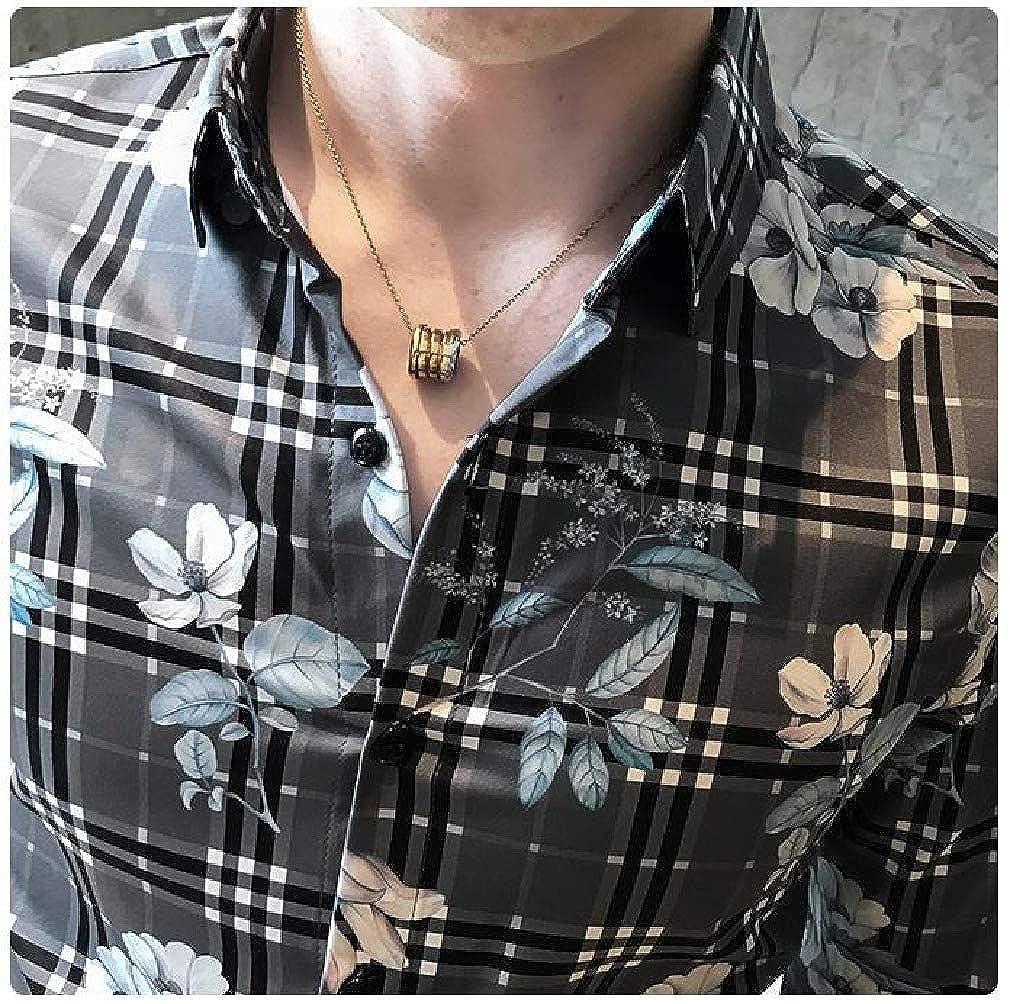 Mfasica Mens Nightclub Floral Print Slim Fit Long-Sleeve Plaid Dress Shirts