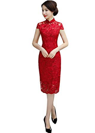 9438ad8e4 Amazon.com: Shanghai Story Knee Length Cheongsam Chinese Wedding Dress Lace  Qipao Red: Clothing