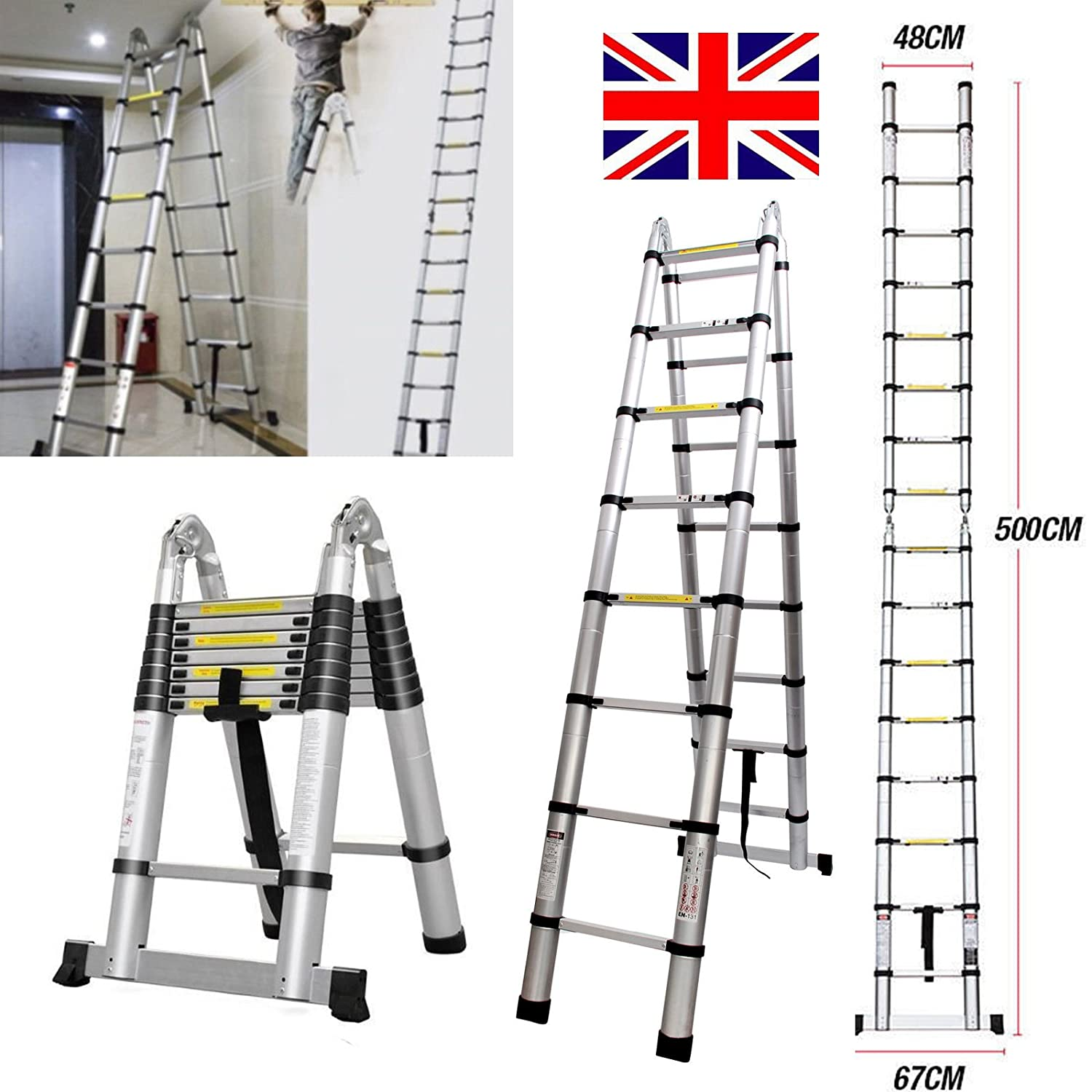 2018 New Design Aluminum 5m/16.4ft Folding Telescopic Ladder Extendable 16 Steps, Can Be Straight or A-Frame Ladder AutoBaBa