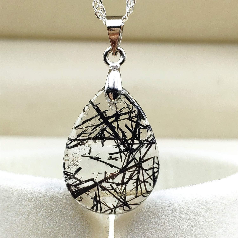 Muko Gemstone Natural Gold Rutilated Quartz Crystal Wealthy Stone Women Pendant 31x18x12mm AAAAA