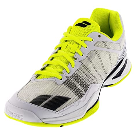 e8b44c4bf5bb5 Babolat Men's jet team all court tennis shoe, White/Yellow