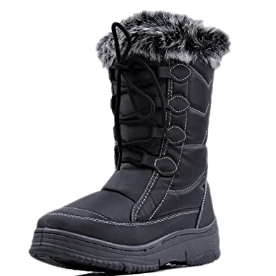 Women's Lace-up Water Resistant Winter Boots with Side Zip Warm Shoes (Black)
