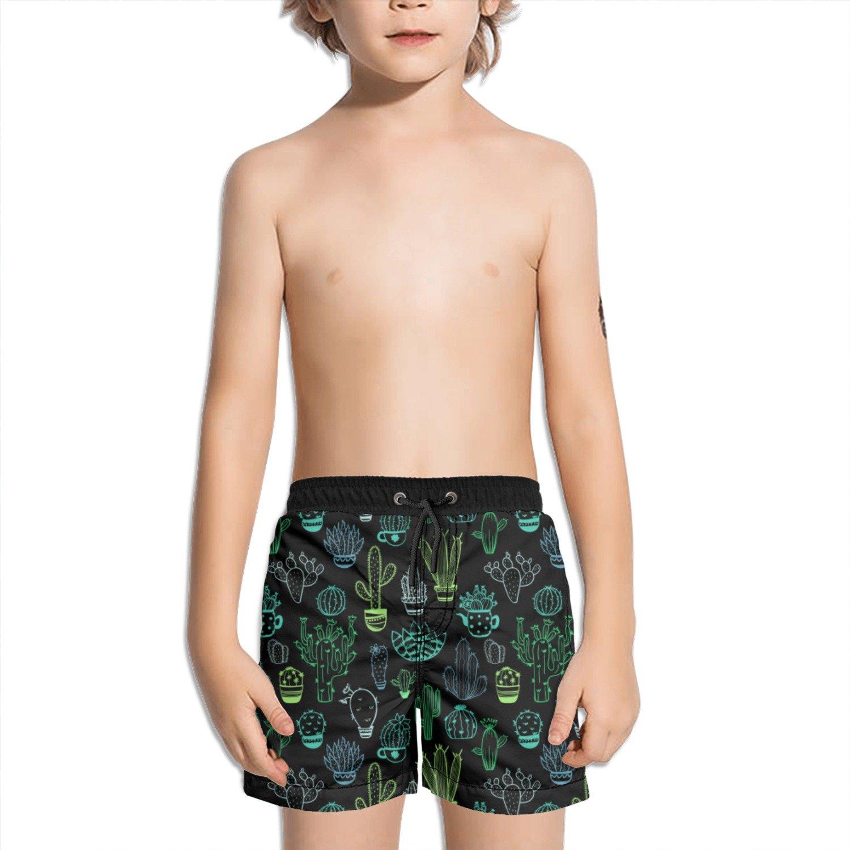 Trum Namii Boys Quick Dry Swim Trunks Colored Cactus Graphic Pattern Shorts