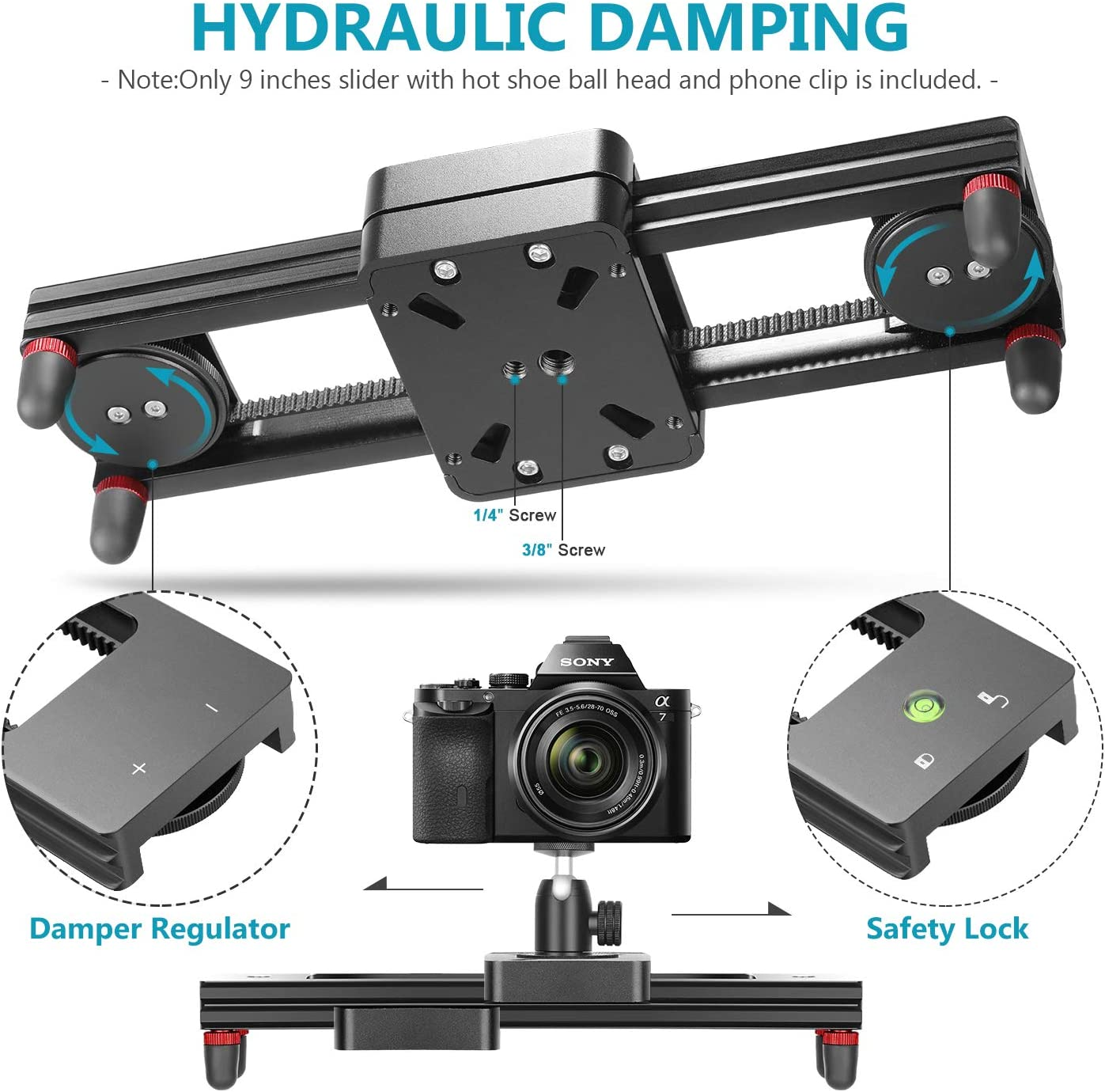 Neewer Camera Slider Carbon Fiber Dolly Rail 19.7 inches//50 Centimeters with 4 Bearings for Smartphone Nikon Canon Sony Camera 12lbs Loading