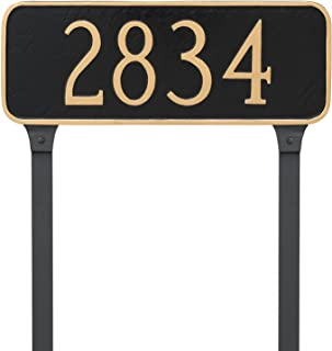 "product image for Montague Metal Rectangle Address Plaque Sign with Stakes, 6"" x 15.75"", Sand/Silver"