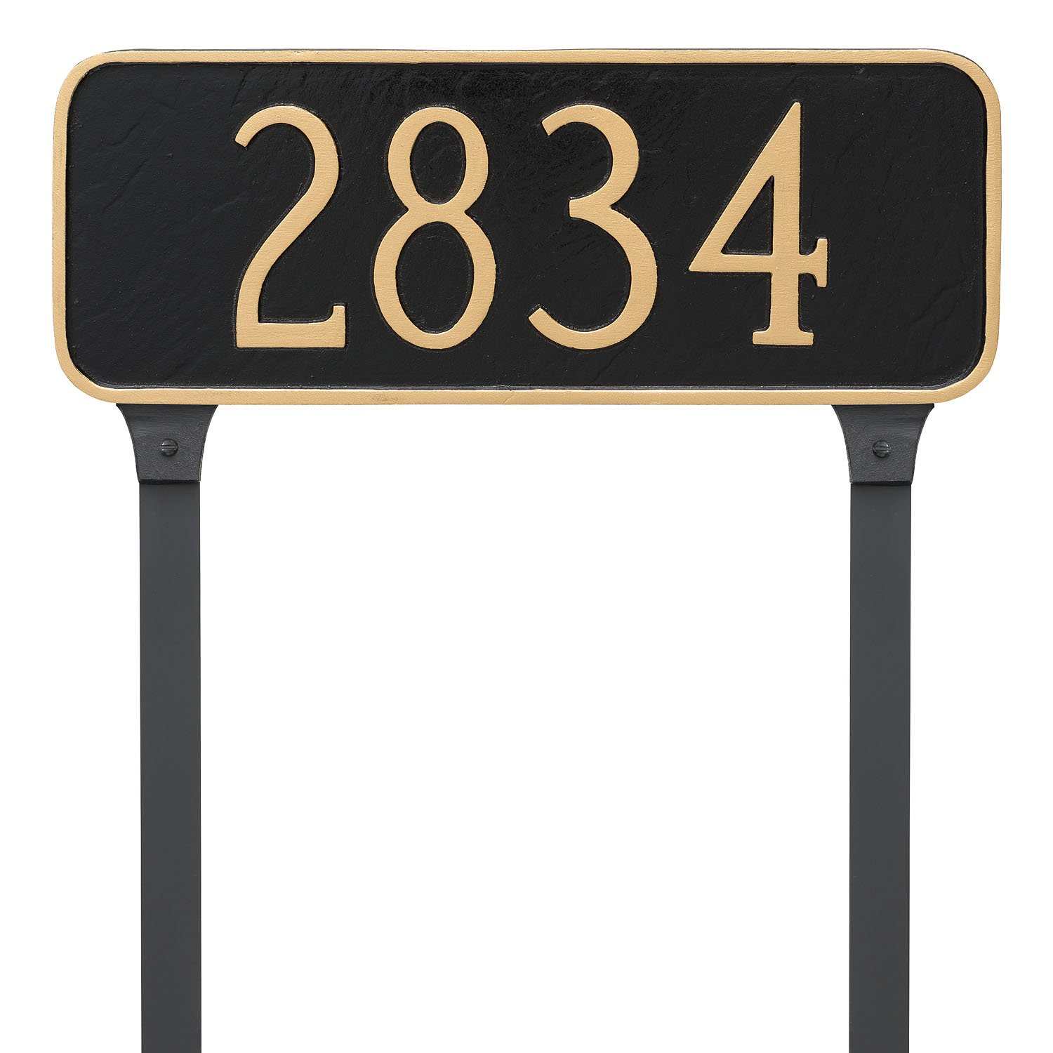 Montague Metal Rectangle Address Plaque Sign with Stakes, 6'' x 15.75'', Black/White