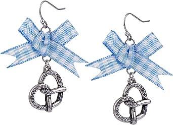 """SIX""""Oktoberfest"""" Ohrstecker Ohrringe mit silberner Bretzel, blau-weißen Textil-Schleifen, Vichy-Karo Wiesen Wiesn Dirndl (776-688)"""