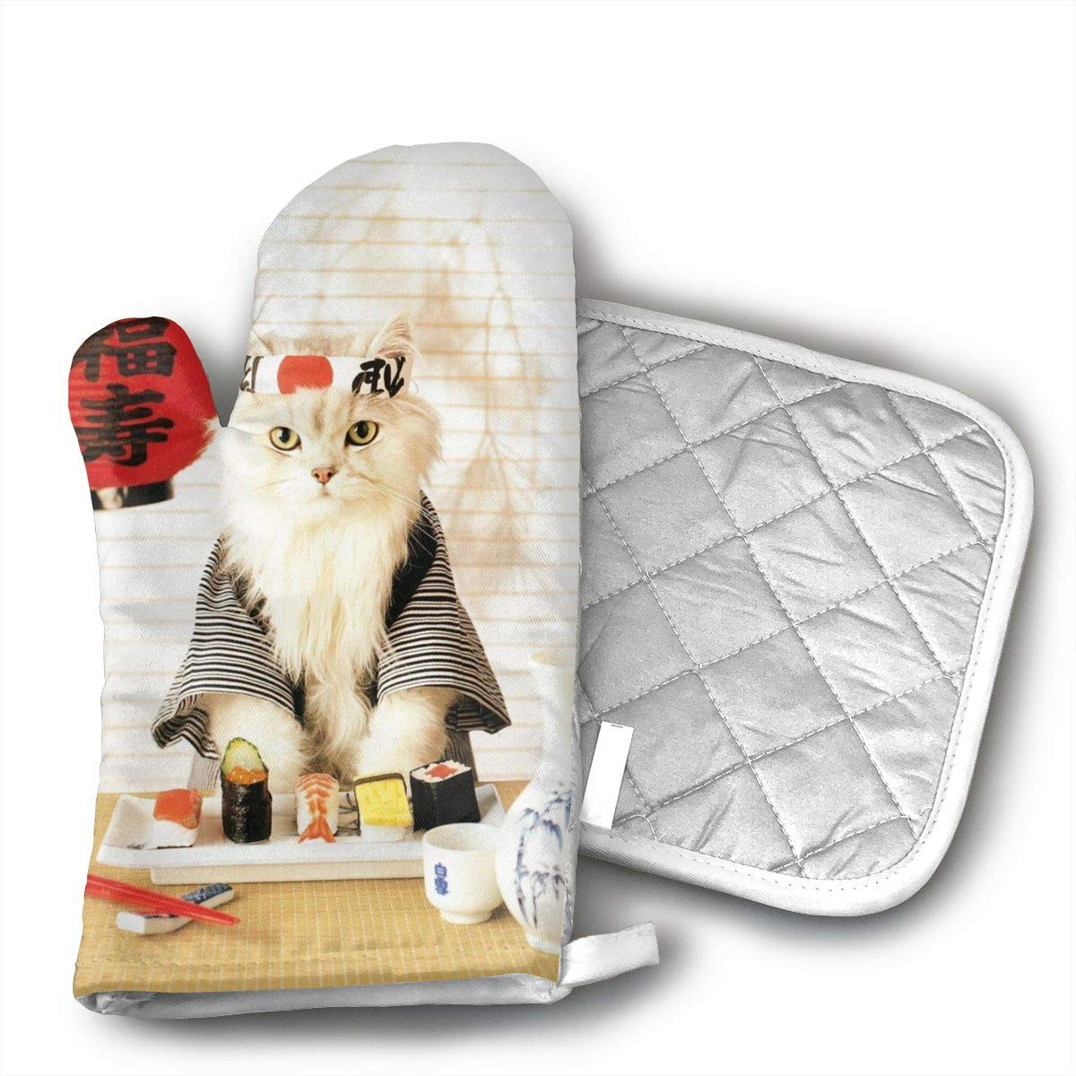 JFNNRUOP Sushi Cat Japanese Cute Funny Kitten Oven Mitts,with Potholders Oven Gloves,Insulated Quilted Cotton Potholders