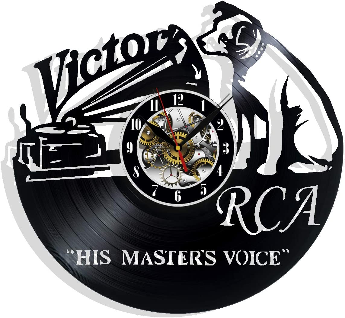Compatible with RCA Victor Dog Vinyl Record Wall Clock Gift Surprise Ideas Best Friends Birthdays Decor Art