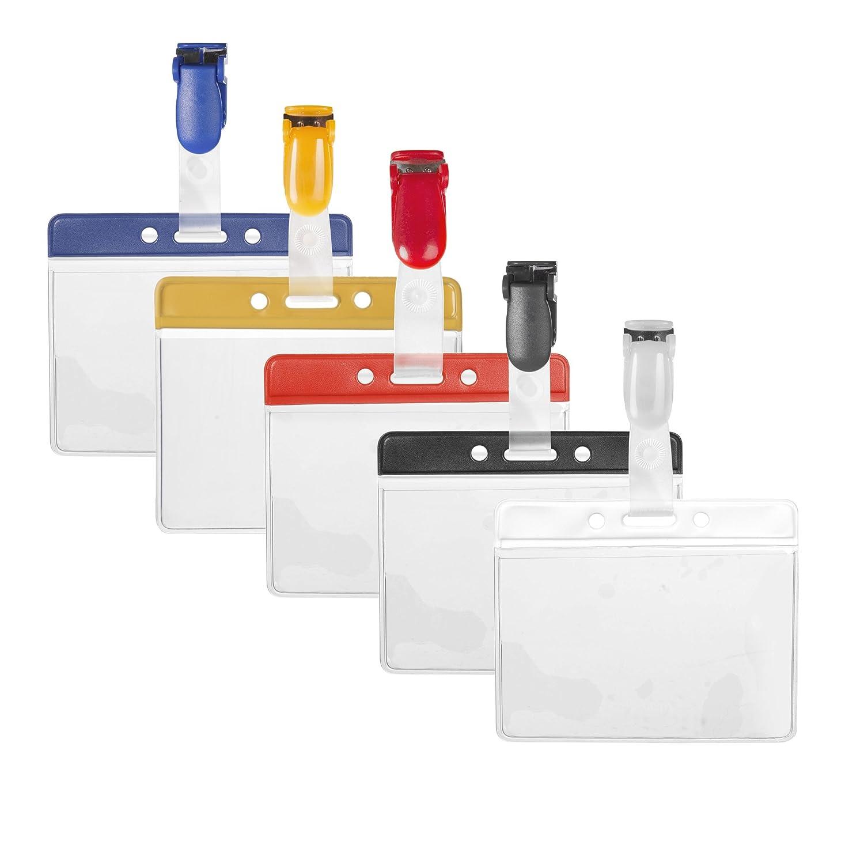 Karteo/® Porta badge Porta cartellino involucro protettivo in polivinile con barre di colore orizzontalmente e clip di colore bianco