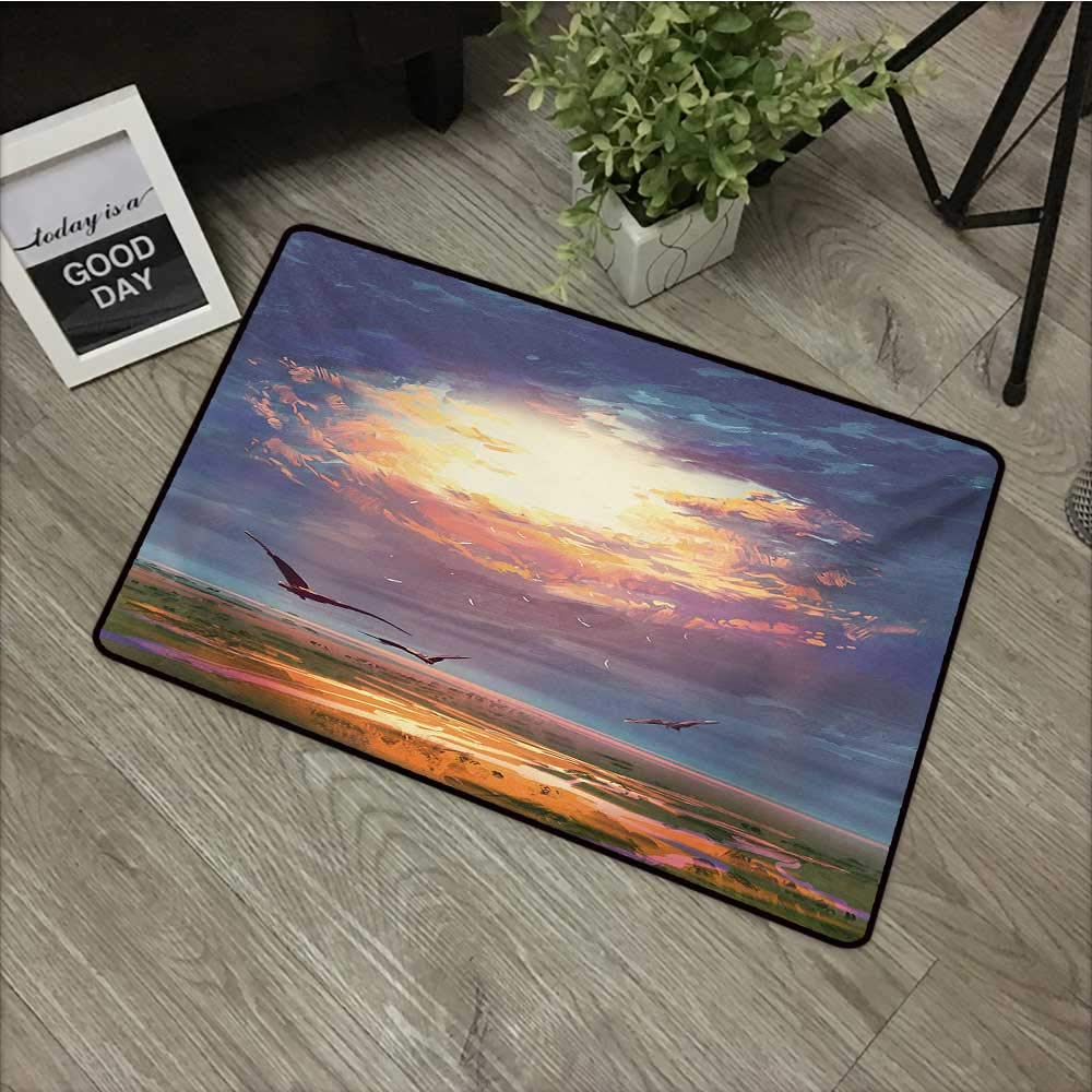 Moses Whitehead Office Door Mat Fantasy,Golden Sun Beams Break Through Storm Clouds Skyline Flying Gulls Nature Imagery,Blue Orange,XL Jumbo, No Phthalate, Water Resistant, 35''x47'' by Moses Whitehead
