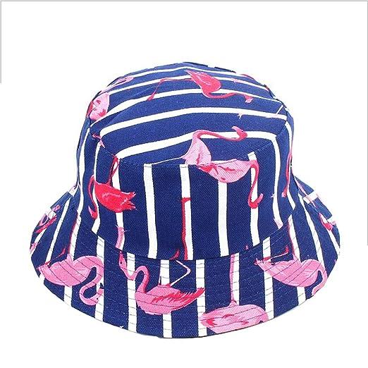 Flamingo Print Bucket Hat Animal Pattern Fisherman Hats Summer Reversible  Packable Sun Cap (Dark Blue e24afedf714