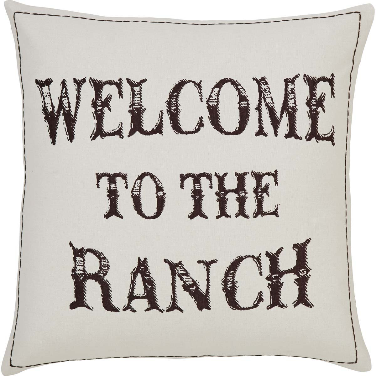 """VHC Brands Rustic & Lodge Pillows & Throws - Welcome to the Ranch Tan Down 18"""" x 18"""" Pillow"""