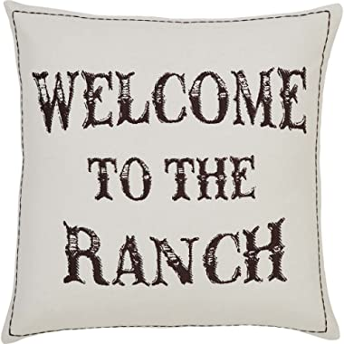 VHC Brands Rustic & Lodge Throws-Welcome to The Ranch Tan Down 18  x 18  Pillow