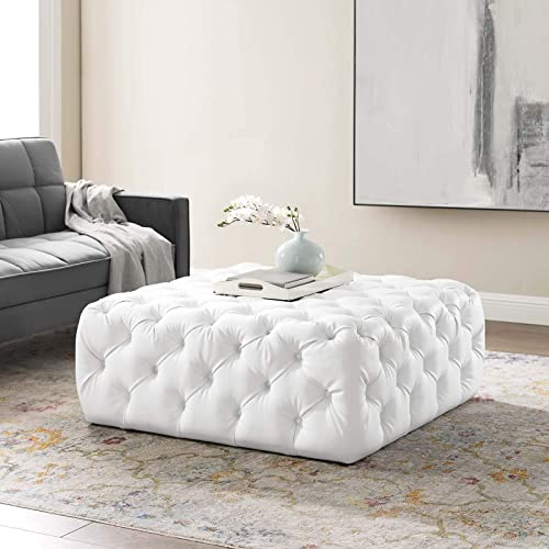 Modway Amour Tufted Vegan Leather Large Upholstered Ottoman