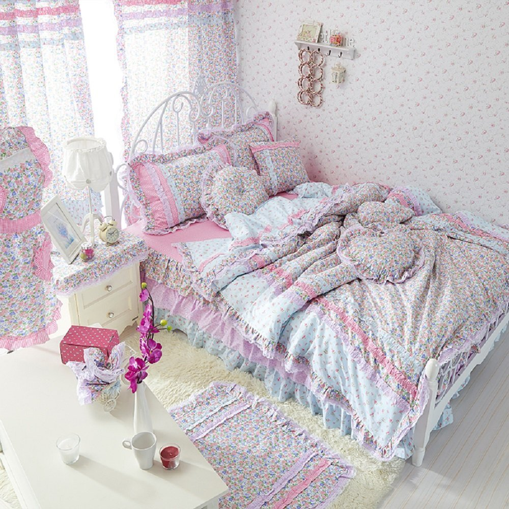 Vintage Floral Fairy Bedding Set Cherry Blossom Bed