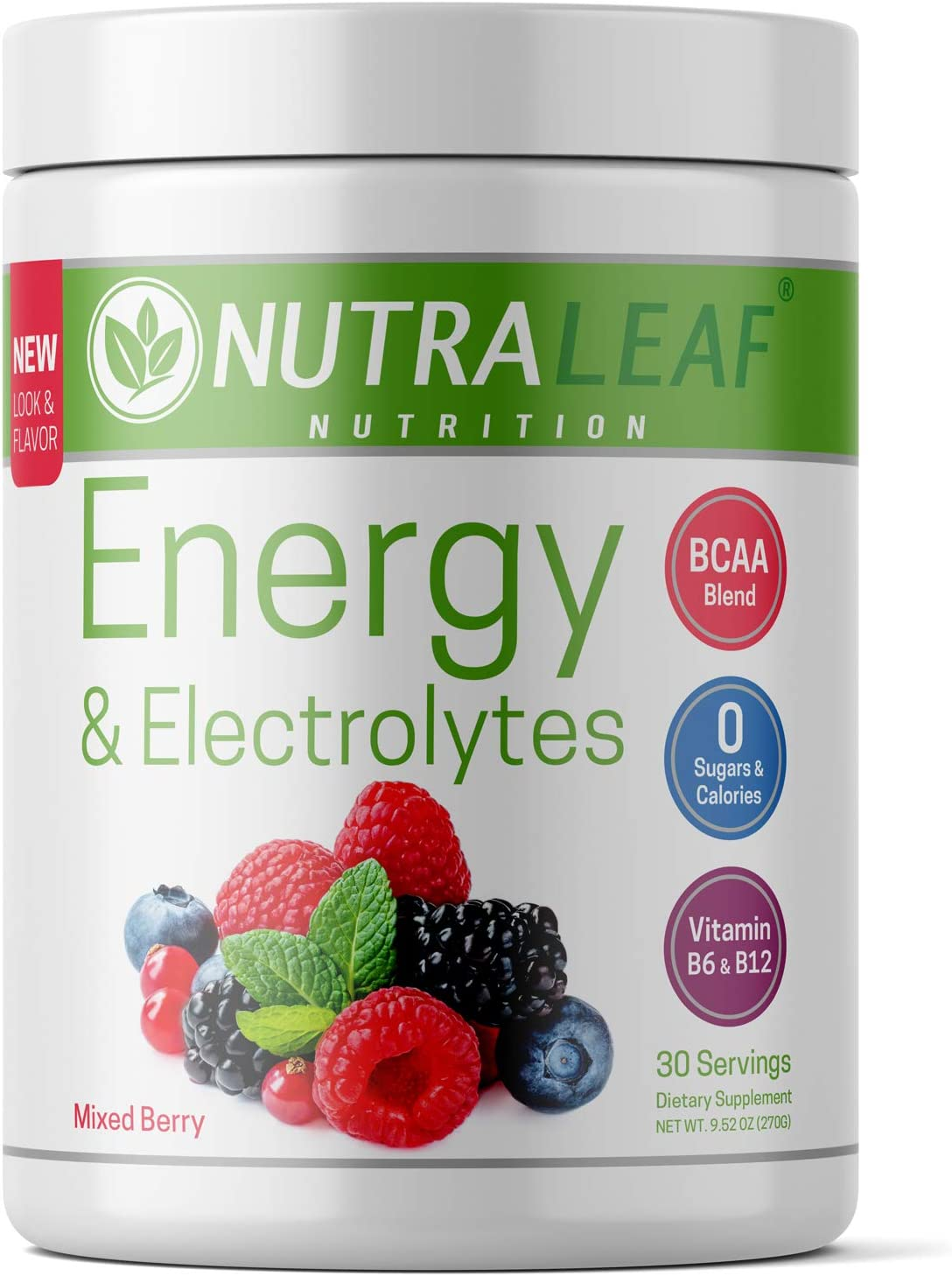 NutraLeaf Energy Electrolytes Vegan Pre-Workout BCAA Powder Drink with Caffeine Beta Alanine – Plant-Based, Keto-Friendly, All-Natural, Non-GMO, Gluten Sugar Free – Mixed Berry 30 Servings