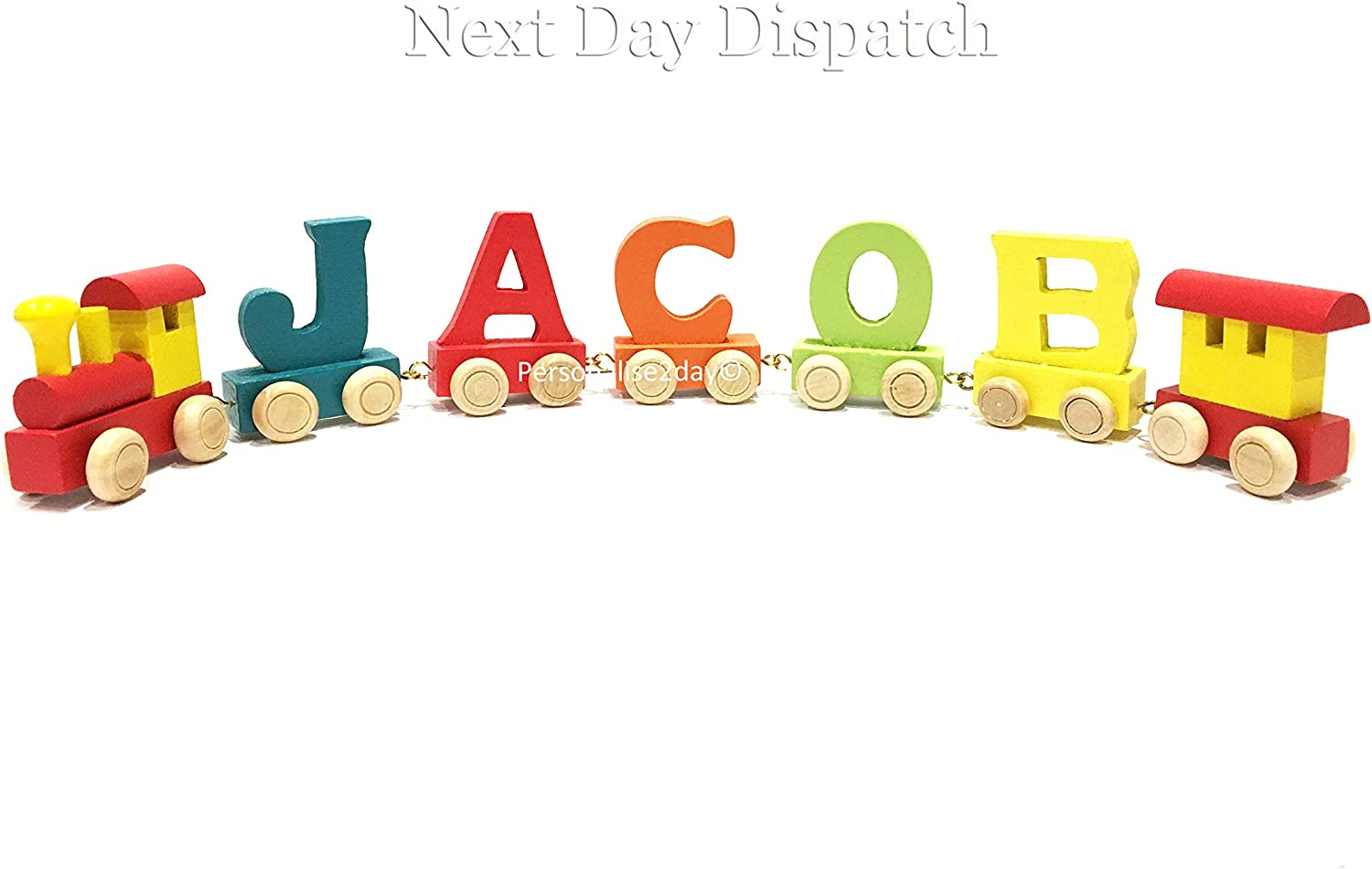 Colour Name, 5 Letter Name Personalized Colorful Wooden Train Alphabet Letter 5 Letters Name