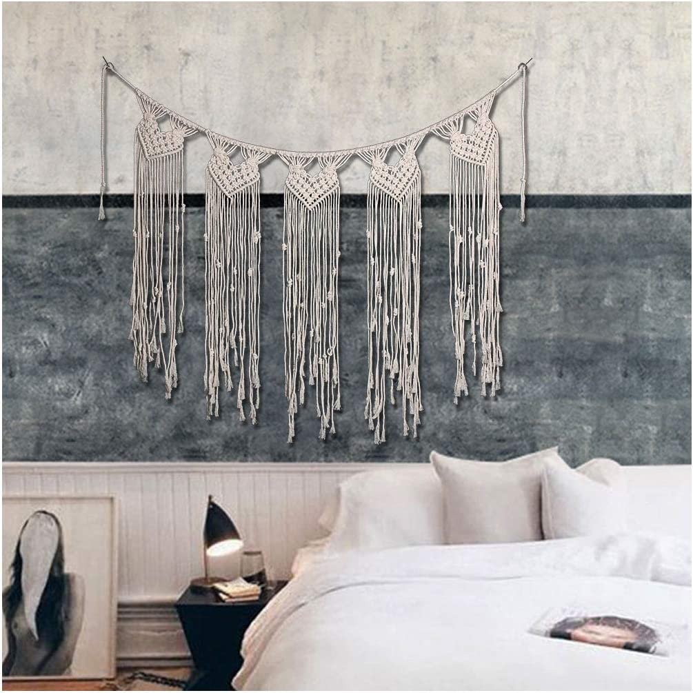 MoreShow Macrame Wall Hanging Heart Shape Tapestry Hand Woven Pendant Decoration House Ceremony Living Room Home Furnishing Accessories-Boho Wall Decor 35.5 L X 44.5 W