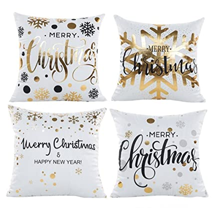 4 pack christmas pillow covers glitter art print snowflakes merry christmas decorative throw pillow case