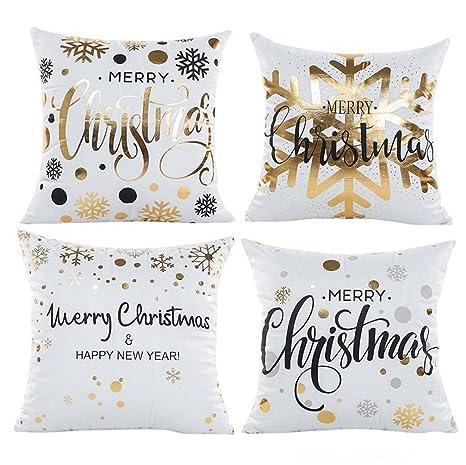 Amazon.com: Navidad fundas de almohada 4 piezas, wiwaplex ...