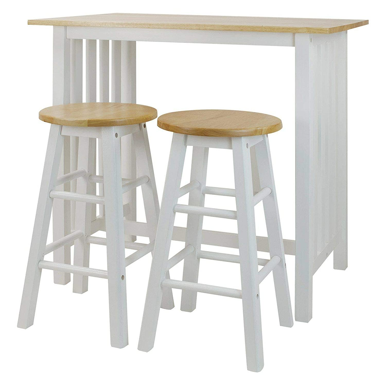 Auténtico 3 PCS Breakfast Set 1 Table 2 Stools Solid Hardwood Top Breakfast Lunch Dinner Home Kitchen Dining Room Furniture Perfect for Small Areas Like Dorm Condo Studio Apartment Versatile Design