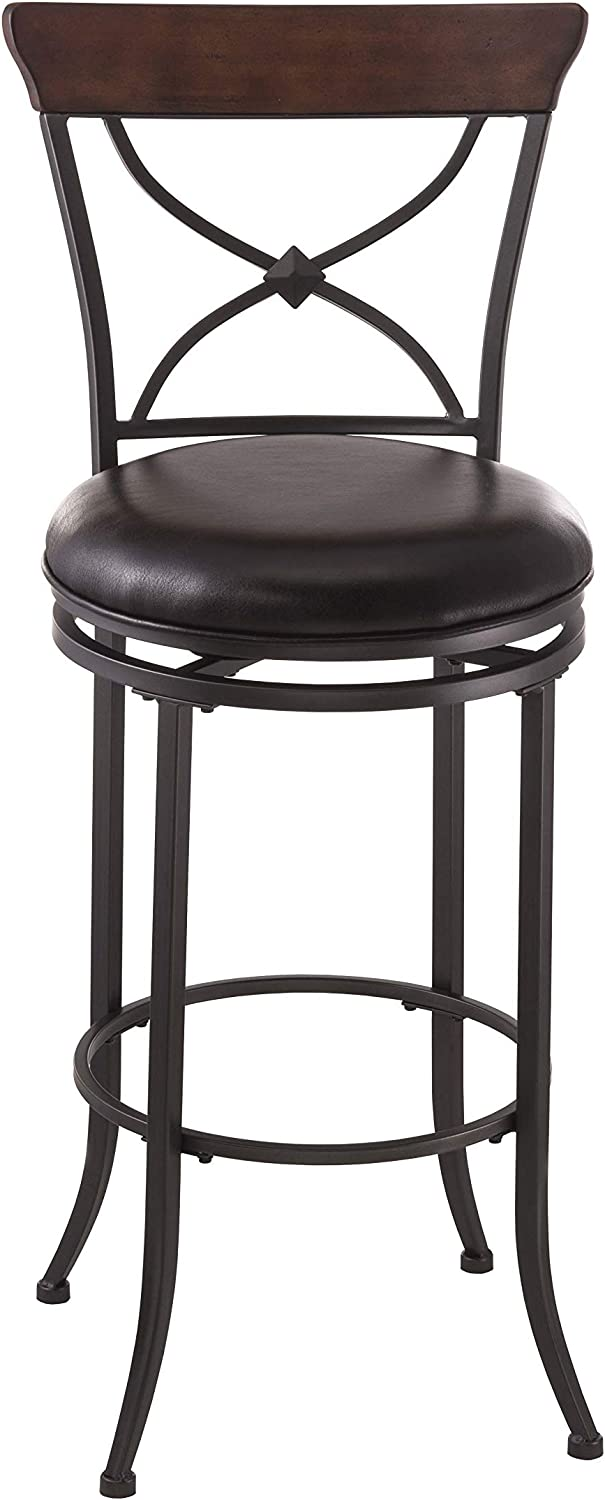 Hillsdale Furniture Cameron Swivel X-Back Counter Stool, Charcoal Gray and Chestnut Brown