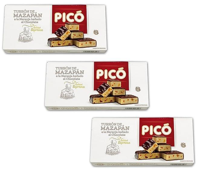 Picó - Pack incluye 3 Turrón de mazapán a la naranja bañado al chocolate - Calidad