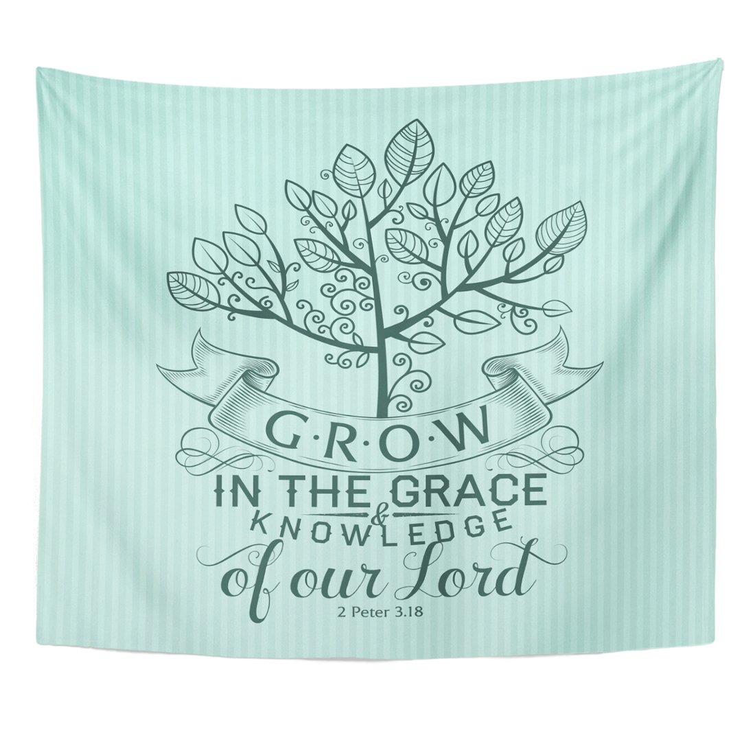 TOMPOP Tapestry Scripture Bible Lettering Christian Grow in the Grace and Knowledge of Our Lord 2 Peter 3 18 Quote Home Decor Wall Hanging for Living Room Bedroom Dorm 50x60 Inches