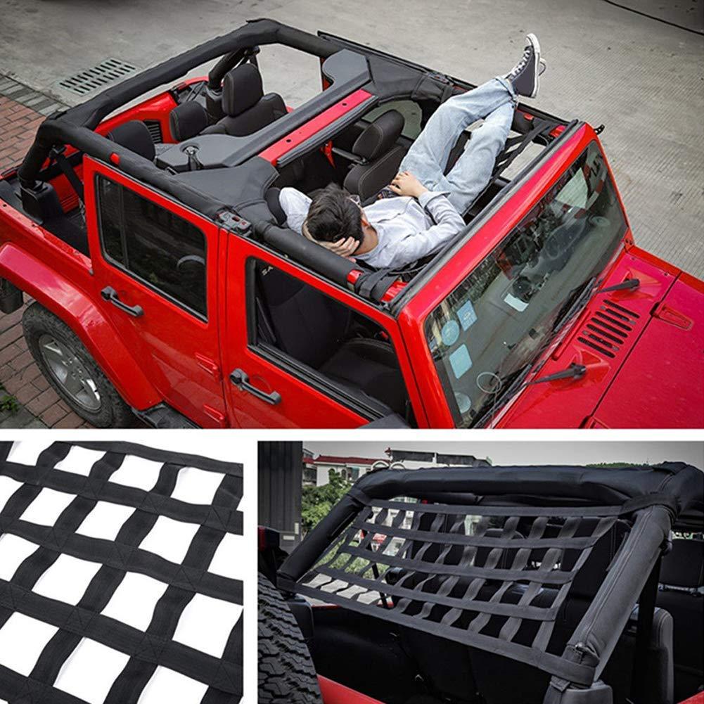 Pandaorv Rear Top Cargo Net for Jeep Wrangler Car Roof Hammock Car Bed Rest for Jeep Wrangler Accessories JK 2007-2018