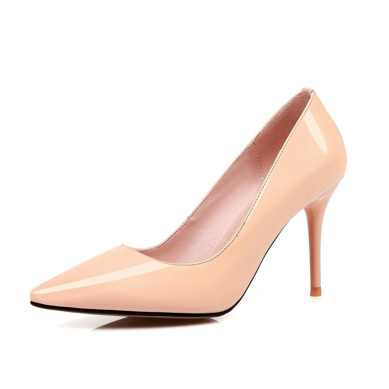 HOESCZS Frauen Schuhe Leder Einzelne Schuhe Weibliche Flacher Mund Stiletto Lackleder High Heels Frauen Arbeitsschuhe Faule Schuhe