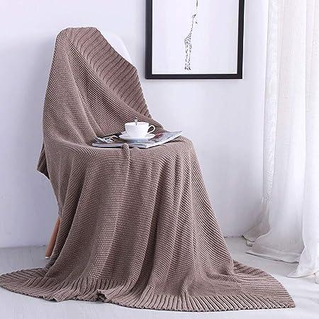 Manta de sofá 120cmx150cm Color sólido Algodón Tejido de punto Manta Sofá Sofá Decoración Manta Multifuncional