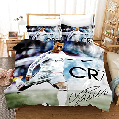 Vampsky Juventus Football Club Cristiano Ronaldo Teenagers Idol Household Bedding 3 Piece Set With Zipper Closure, 100% Microfiber Football Star 3D Print 1 Duvet Cover 2 Pillow Shams Christmas Bedding: Home & Kitchen