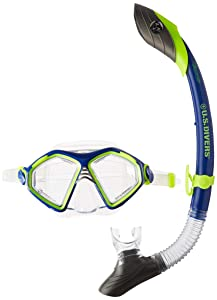 U.S. Divers Admiral 2 LX/Island Dry Silicone Mask Combo, Neon Blue