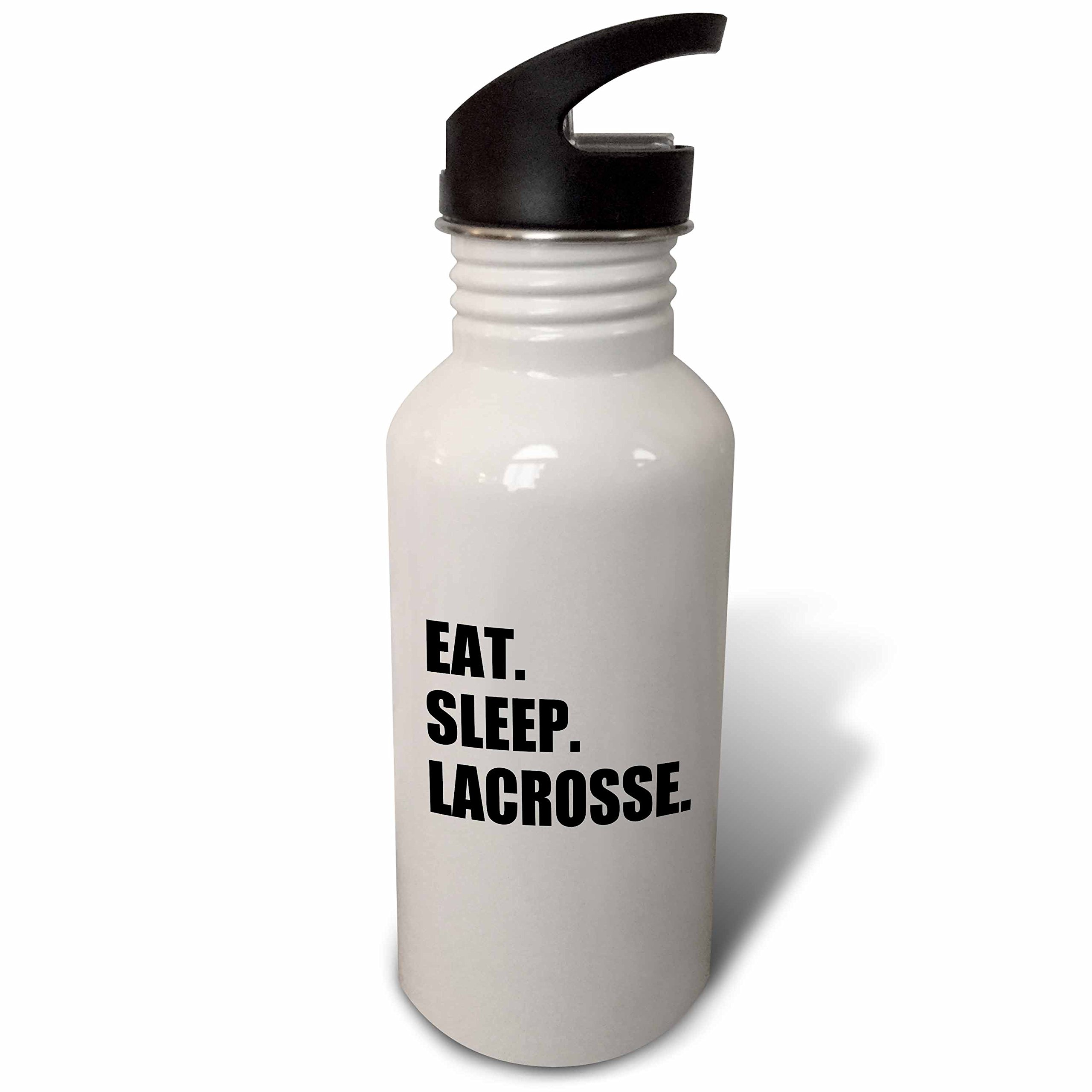 3dRose wb_180418_2 Eat Sleep Lacrosse Gifts for Sport Enthusiasts Lax Crosse Text Straw Water Bottle
