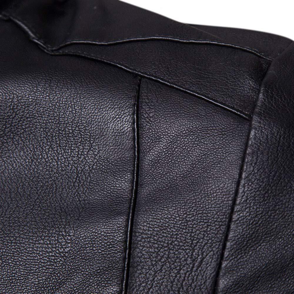 Ennglun Winter Jacket for Men,Men Winter Warm PU Leather Jacket Coat,Mens Coat