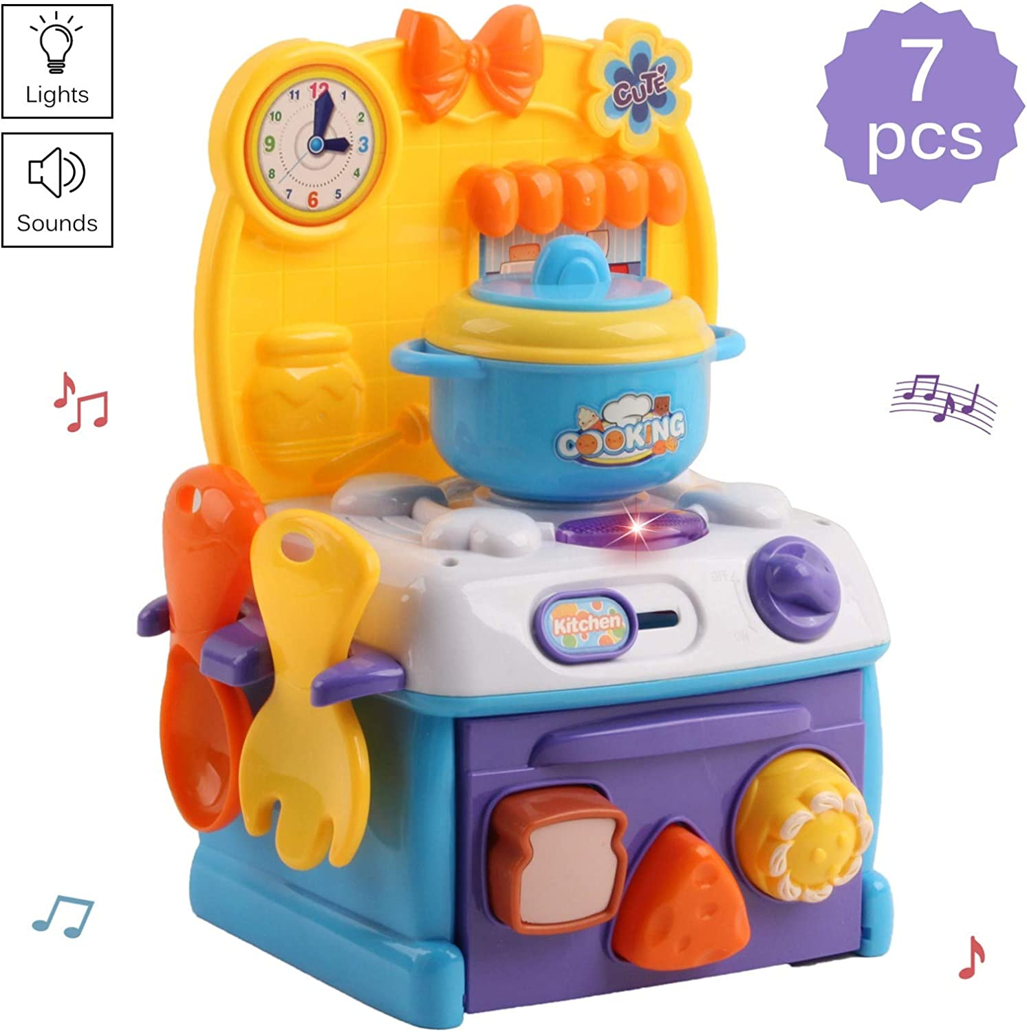 Vokodo Kids Kitchen Playset Compact Size With Light And Music Includes Oven Stove Pot And Food Pieces Pretend Play Chef Early Learning Preschool Cooking Toy Great Gift For Children Boys Girls Toddlers