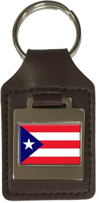 Leather Keyring Engraved Puerto Rico Flag