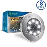 Solar Ground Lights,Garden Pathway Outdoor In-Ground Lights With 8 LED (8 pack white)