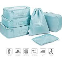 2018 New Pack of 6 Packing Cubes Travel Luggage Organizers Clothing Storage Sorting Package Shoe Bag Laundry Bra Storage Pouches and Electronics Accessories Pouch(Blue)