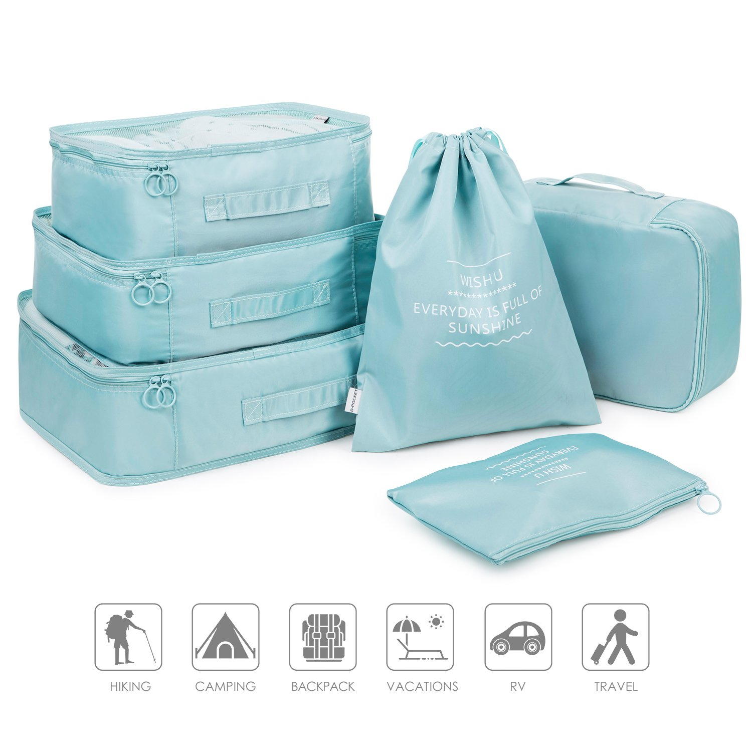 2018 New Pack of 6 Packing Cubes Travel Luggage Organizers Clothing Storage Sorting Package Shoe Bag Laundry Bra Storage Pouches and Electronics Accessories Pouch (blue)