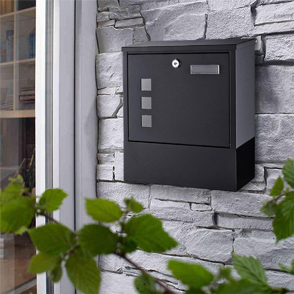 BONADE Buz/ón para Cartas y Correo Postal de Color Negro Buz/ón de Exterior 305 x 100 x 340 mm