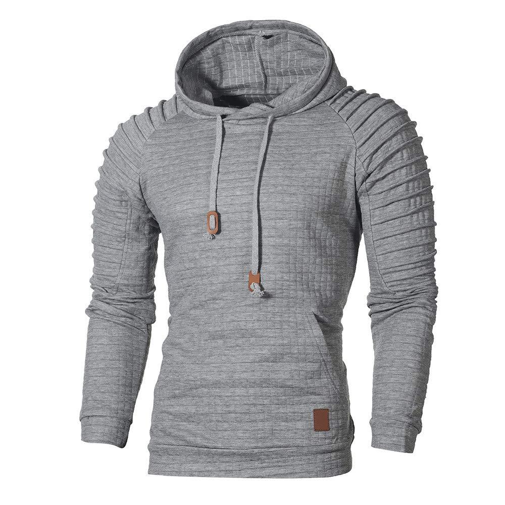 GREFER Men's Hooded Sweatshirt Autumn Long Sleeve Plaid Hoodie Top Tee Outwear Gray by GREFER