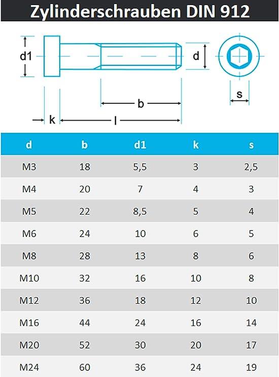 Edelstahl A2 V2A Rostfrei Vollgewinde/Inbus/Zylinderkopfschrauben 10 St/ück PROTECH Zylinderschrauben mit Innensechskant DIN 912 M8 X 70