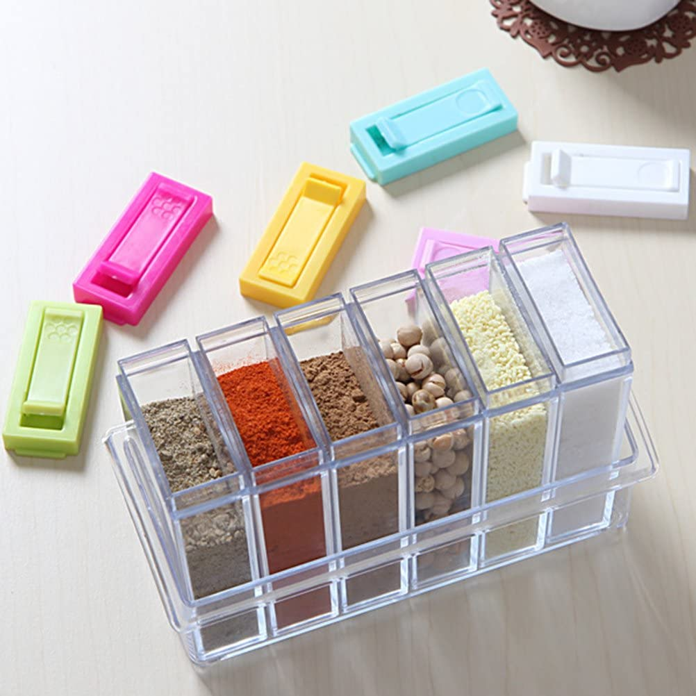 Bestonzon 6pcs trasparente condimento box cremagliera condimento box spezie contenitore con sistema di codifica